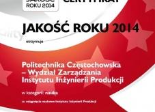 CERTYFIKAT JAKOŚĆ ROKU 2014